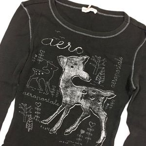 Aeropostale Tops - Bambi Deer Gray Thermal Long Sleeve Top Medium